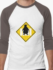 LINUX TUX PENGUIN CROSSING ROAD SIGN Men's Baseball ¾ T-Shirt