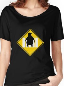 LINUX TUX PENGUIN CROSSING ROAD SIGN Women's Relaxed Fit T-Shirt