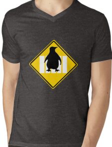 LINUX TUX PENGUIN CROSSING ROAD SIGN Mens V-Neck T-Shirt