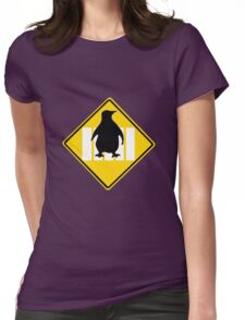 LINUX TUX PENGUIN CROSSING ROAD SIGN Womens Fitted T-Shirt
