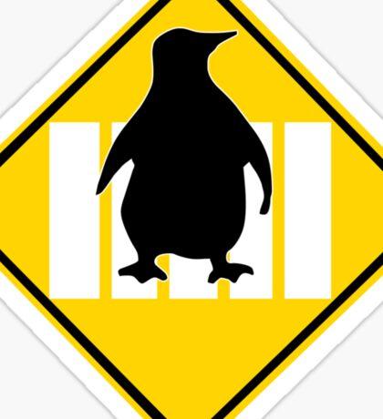 LINUX TUX PENGUIN CROSSING ROAD SIGN Sticker