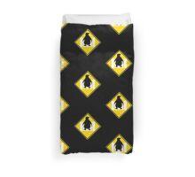 LINUX TUX PENGUIN CROSSING ROAD SIGN Duvet Cover