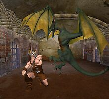Enemies .. Dragon vs Warrior by LoneAngel