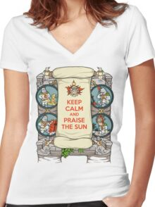 Keep Calm and Praise the Sun Women's Fitted V-Neck T-Shirt