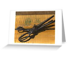 vintage pinking shears sitting on a taped box Greeting Card