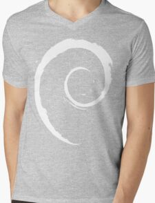 Debian White Mens V-Neck T-Shirt