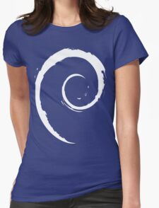 Debian White Womens Fitted T-Shirt