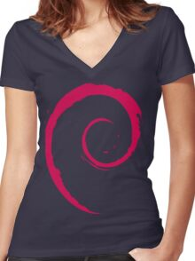 Debian Red Women's Fitted V-Neck T-Shirt