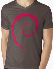 Debian Red Mens V-Neck T-Shirt