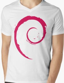 Debian Red Mens V-Neck T-Shirt