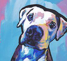 Pit bull Dog Bright colorful pop dog art by bentnotbroken11