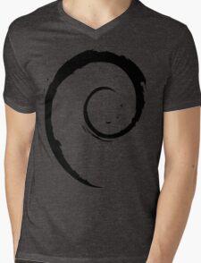 Debian Black Mens V-Neck T-Shirt