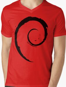 Debian Black Mens V-Neck T-Shirt