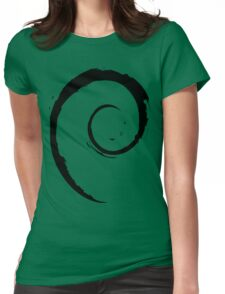 Debian Black Womens Fitted T-Shirt