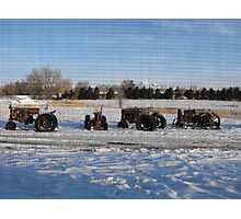 Old Tractors in the Snow Photographic Print