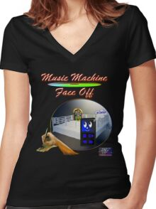 Music Machine Face Off Women's Fitted V-Neck T-Shirt
