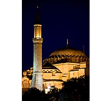 Lighted Minaret And Dome Photographic Print