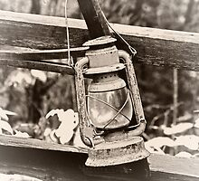 The Antique Cross Buck Saw & Lantern of Old by Tim Denny