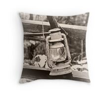 The Antique Cross Buck Saw & Lantern of Old Throw Pillow