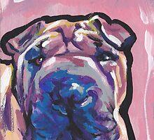 Shar Pei Dog Bright colorful pop dog art by bentnotbroken11