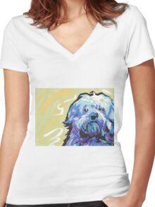 Havanese Dog Bright colorful pop dog art Women's Fitted V-Neck T-Shirt