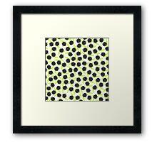 Black and green cute raspberries pattern Framed Print