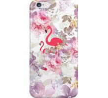 Girly cute pink flamingo vintage pastel flowers iPhone Case/Skin