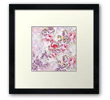 Girly cute pink flamingo vintage pastel flowers Framed Print