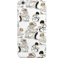 Vintage black and white Victorian children reading iPhone Case/Skin
