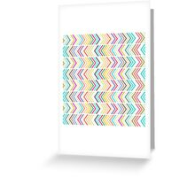 Girly pink purple teal white chevron pattern Greeting Card