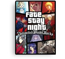 Grand Theft Auto Fate Stay Night Canvas Print