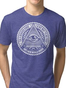 Anti New World order - On A Bended Knee Is No Way To Be Free Tri-blend T-Shirt