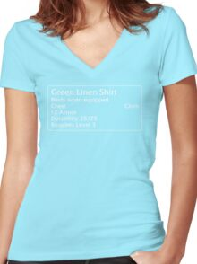 Green Linen Shirt Women's Fitted V-Neck T-Shirt