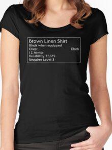 Brown Linen Shirt Women's Fitted Scoop T-Shirt