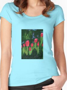 Tulips from the Avian Estates ABSTRACT Women's Fitted Scoop T-Shirt