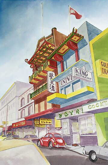 Chinatown Street Scene by John Hopkins
