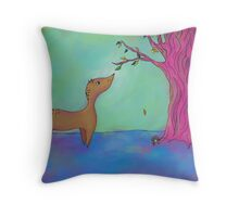 Deer and The Green Leaf Throw Pillow