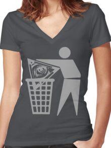 Delete The Elite - Anti New World Order Women's Fitted V-Neck T-Shirt