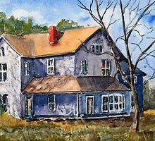 Old Farm House - Watercolor Landscape by Barry  Jones