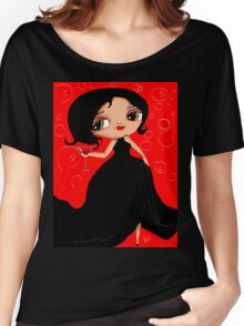 Black Dress in a Red Room Women's Relaxed Fit T-Shirt