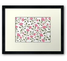 Elegant Pink Roses Pattern Illustration Framed Print