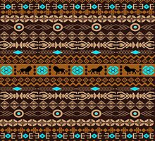 Brown And Beige Tribal Pattern With Loons by artonwear