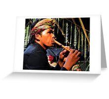 Flute Player, Ubud, Bali Greeting Card