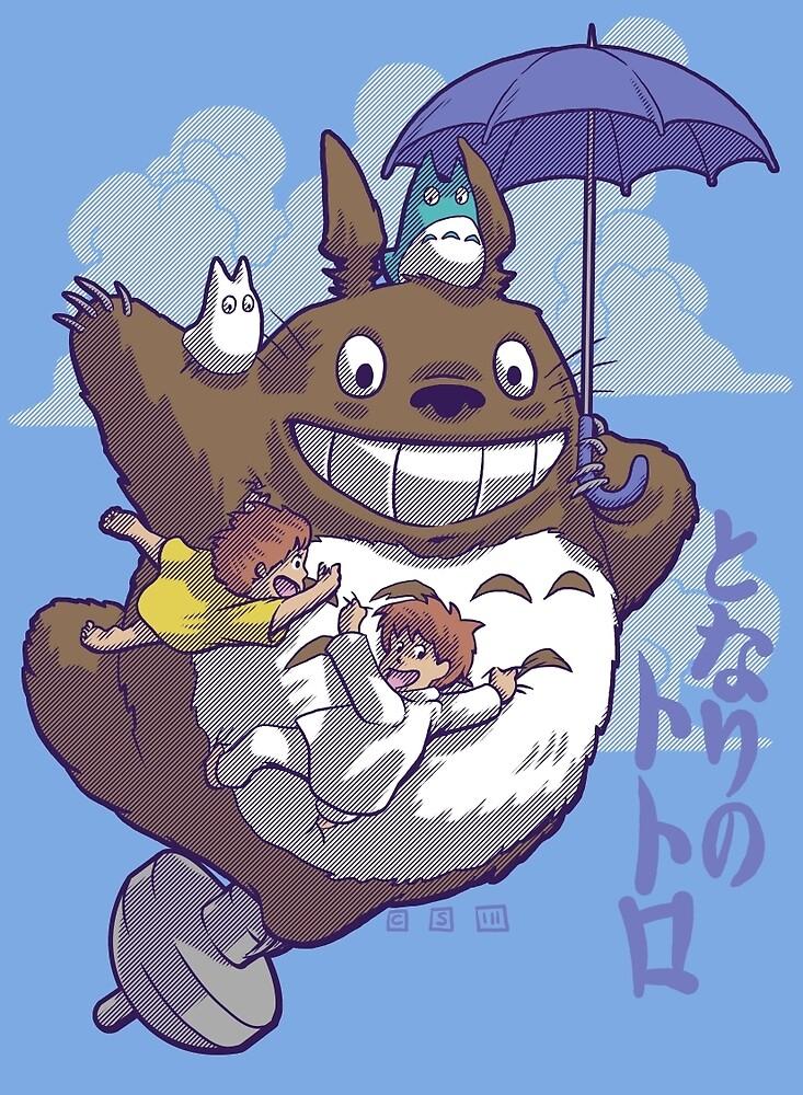 Totoro in Flight by cs3ink