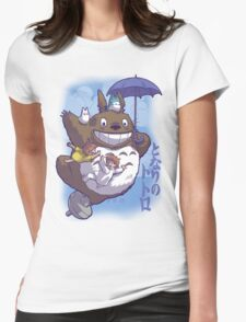 Totoro in Flight Womens Fitted T-Shirt