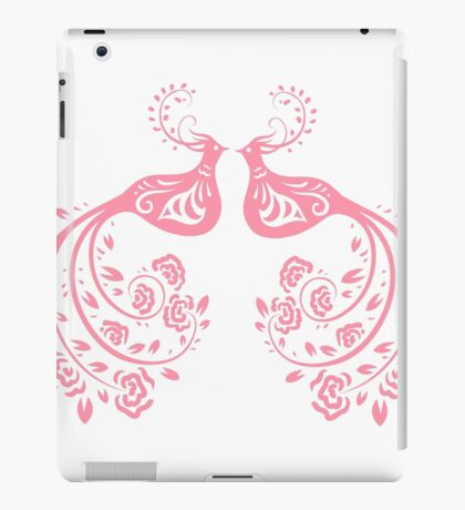 Pink Stylized Pair of Peacocks Love Birds  iPad Case/Skin
