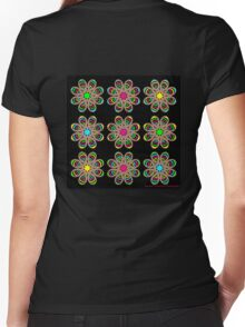 Neon Foot Flowers Women's Fitted V-Neck T-Shirt
