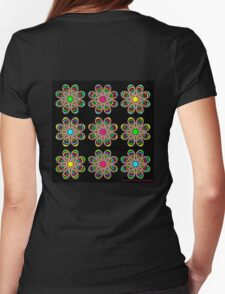 Neon Foot Flowers Womens Fitted T-Shirt