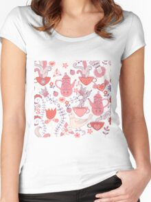 Pink And White Tea Party With Flowers And Birds Women's Fitted Scoop T-Shirt