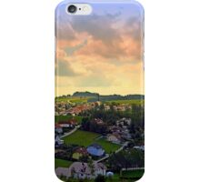 Beautiful village skyline beyond cloudy sky | landscape photography iPhone Case/Skin